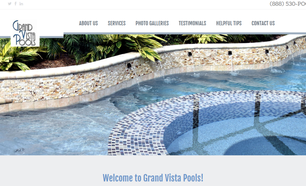 Grand Vista Pools - Trinity Web Design and SEO client