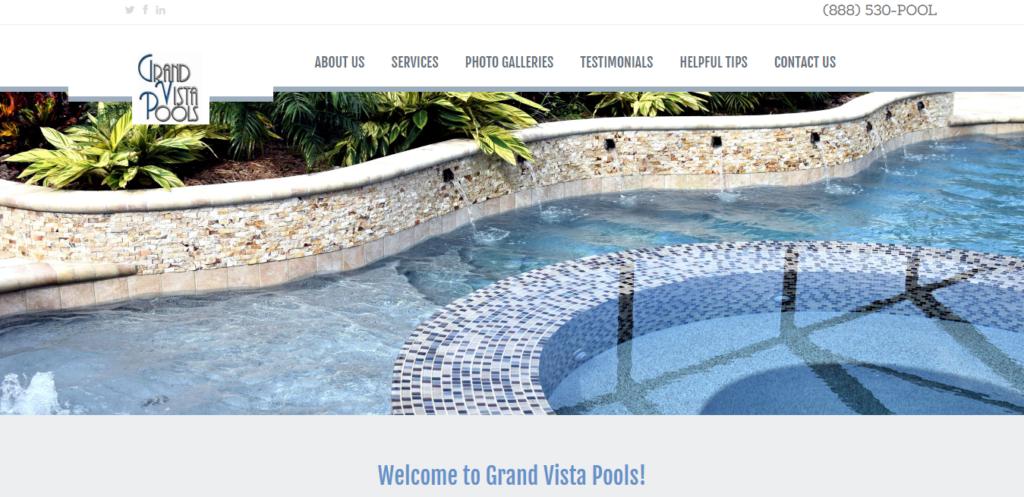 Grand Vista Pools - Trinity Web Design and SEO client