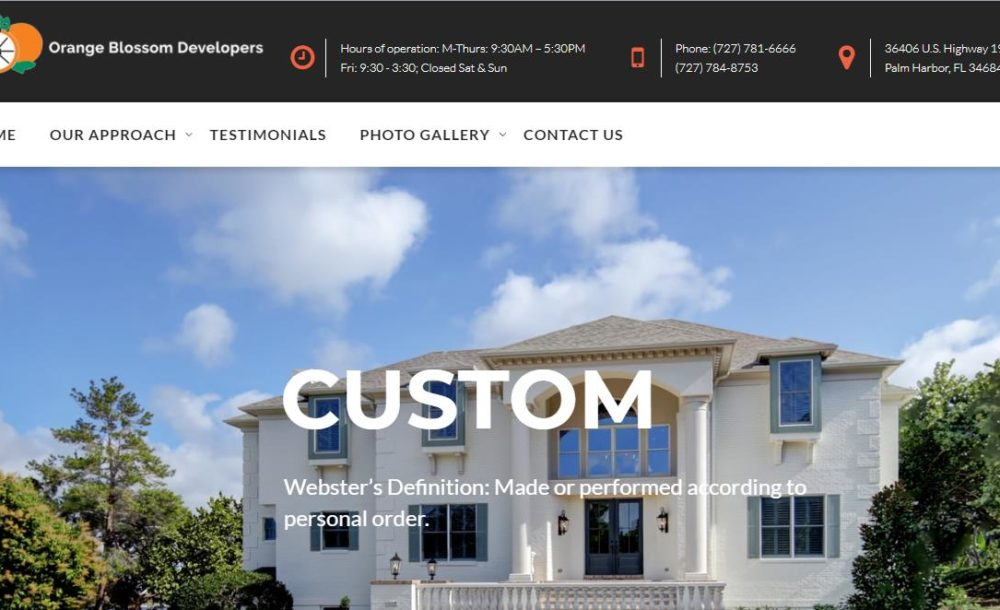 Orange Blossom Developers - New Port Richey Web Design client