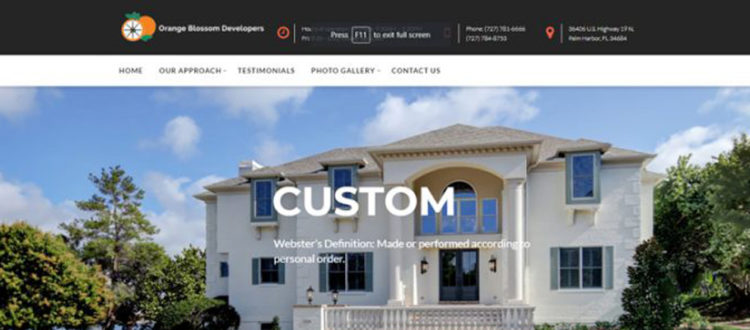Trinity web design for Orange Blossom Developers