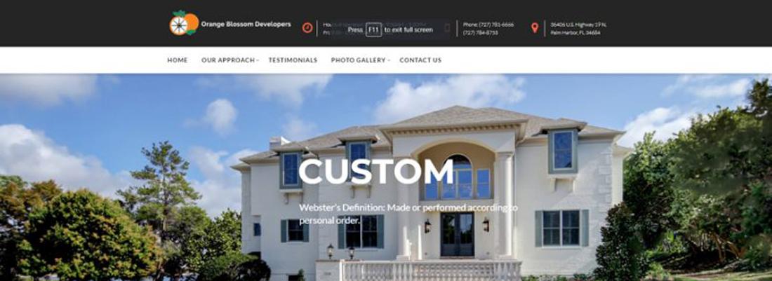 Trinity web design for Orange Blossom Developers