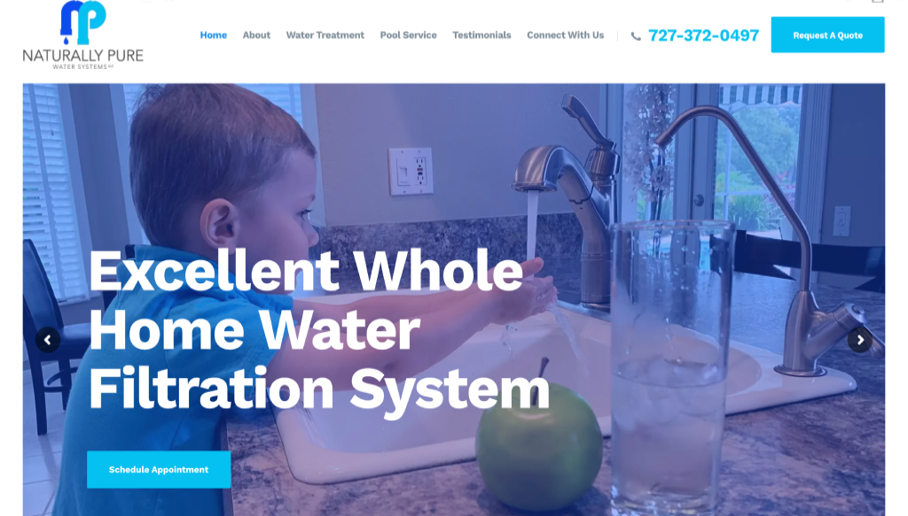 Naturally Pure Water Systems - New Port Richey Website Design client